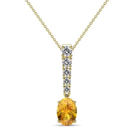 Oval Citrine & Diamond Journey Pendant 1.07 Carat tw in 14K Yellow Gold with 18 Inches 14K Gold Chain 14k White Gold Journey Pendant
