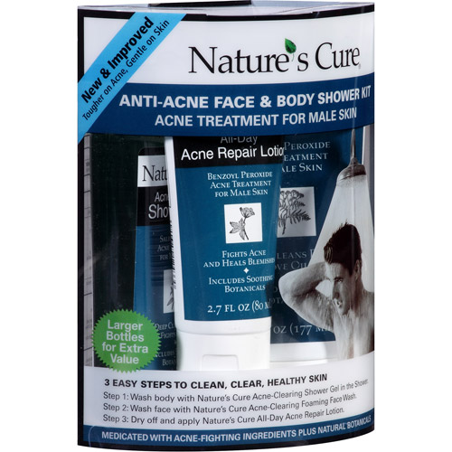 Nature's Cure Anti-Acne Face & Body Shower Kit, 3 pc