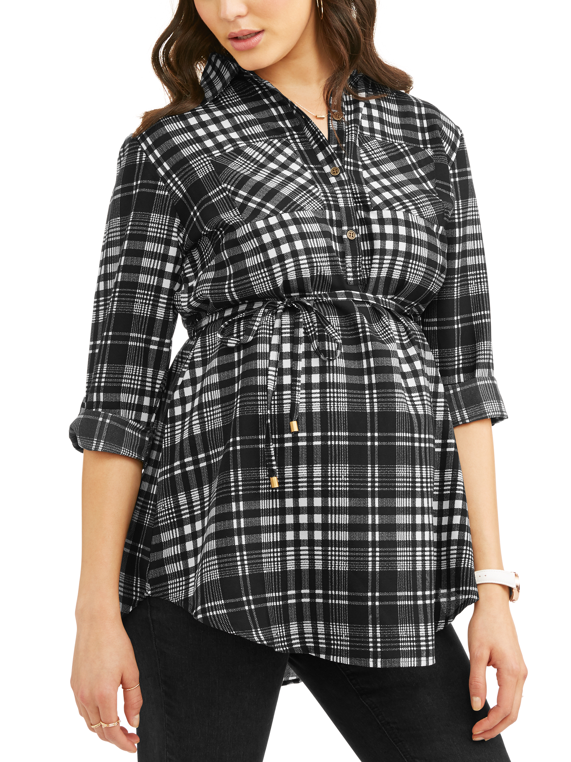 Maternity Woven Long Sleeves Button Front Shirt with Pocket - Available in Plus Sizes