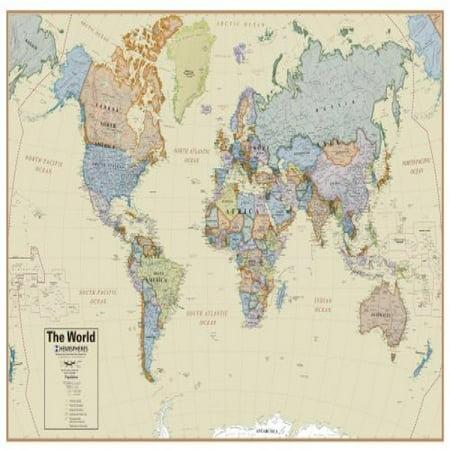Hemispheres Boardroom Series World Wall Map