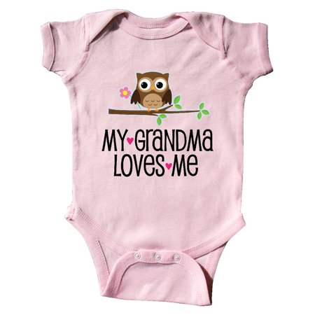 Grandma Loves Me Girls Owl Infant Creeper (Baby Girl Owl)