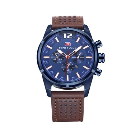 Mens Quartz Watch Blue Case Leather Strap 3 Dials Date Exquisite Design for Friends Lovers Best Holiday Gift