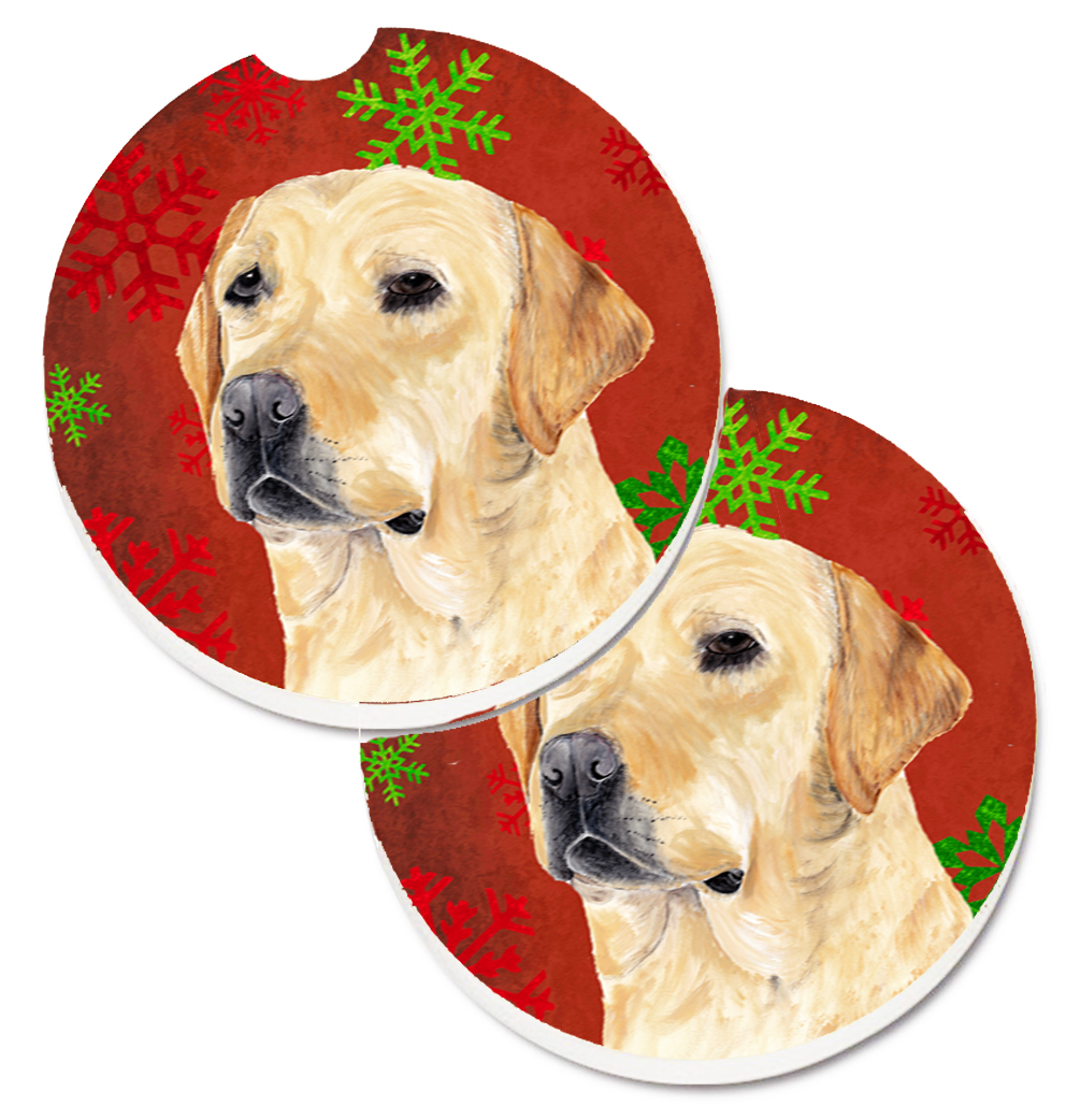Labrador Red and Green Snowflakes Holiday Christmas Set of 2 Cup Holder Car Coasters SC9416CARC
