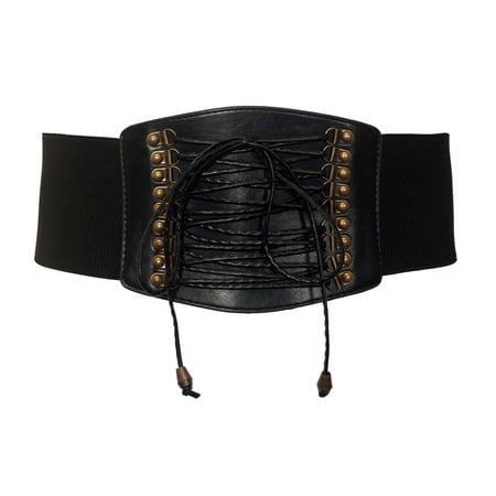 eVogues Plus size Faux Leather Corset Look Elastic Belt
