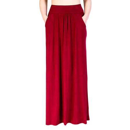 Top Knobs Womens High Waist Shirring Maxi Skirt Ankle Length with Pockets ()