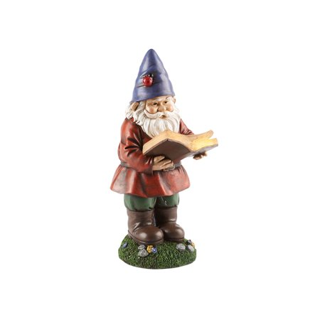 Art Artifact Lighted Reading Garden Gnome Statue Solar Ed Light Up Lawn Patio Yard Decoration 13 Tall
