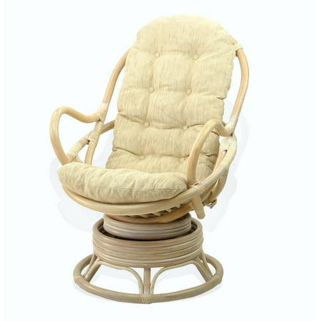 Lounge Swivel Rocking Java Chair Natural Rattan Wicker with Cream Cushion, Cream ()