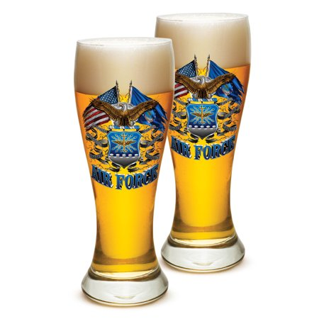 - Pilsner US Air Force Gifts for Men or Women – USAF Beer Glassware – Double Flag Air Force Barware Glasses - Set of 12 (23 Oz)