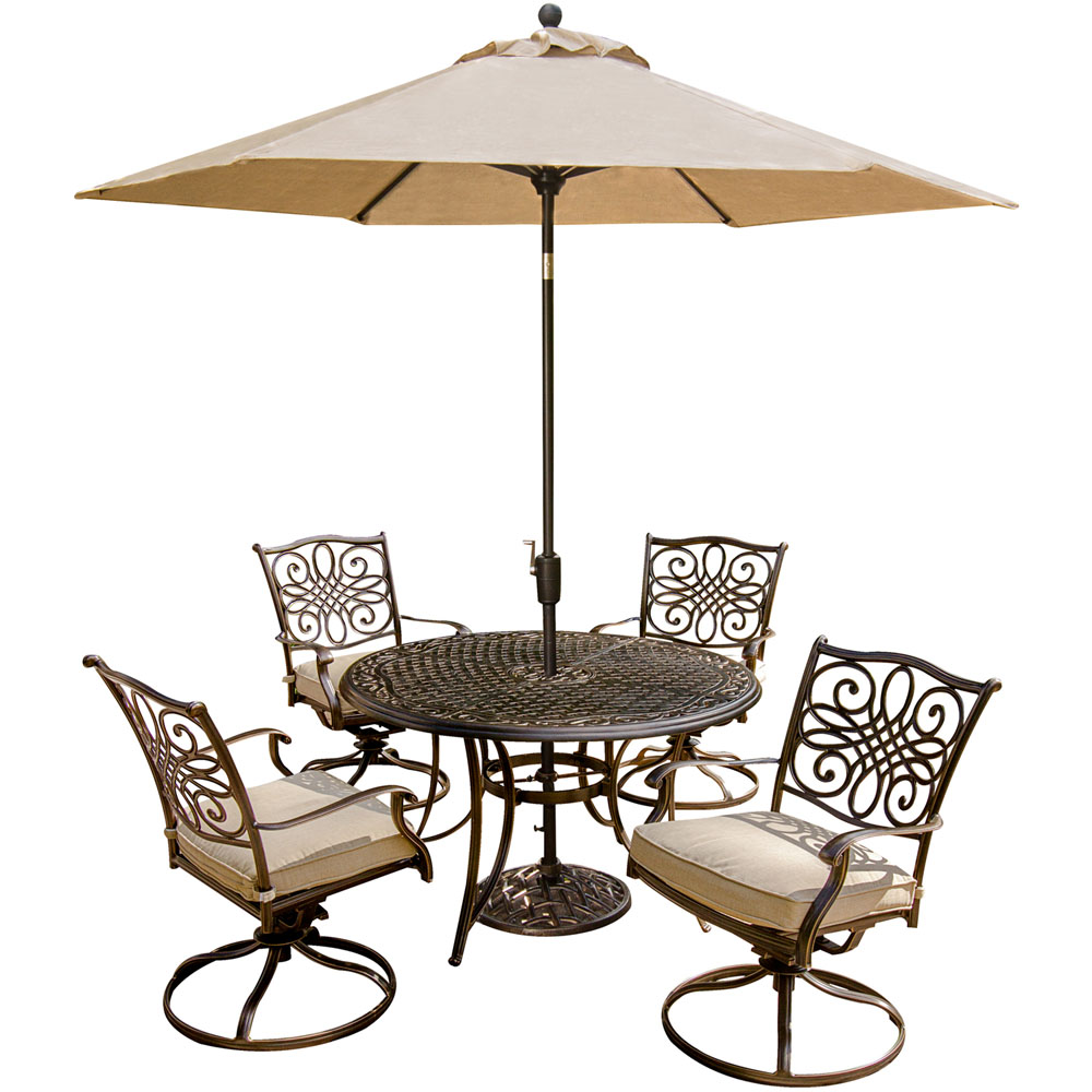 Hanover Outdoor Traditions 5-Piece Dining Set with Four Swivel Rockers and Umbrella, Natural Oat