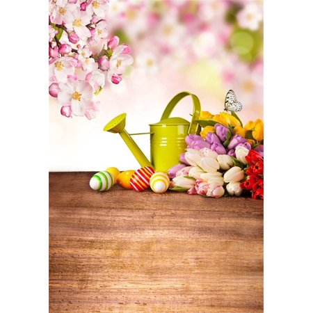 MOHome Polyster Backdrop 5x7ft Photography Background Peach Blossom Flowers Tulip Green Teapot Color Eggs Easter Festival Party Scene Wood Floor Background Photo Studio Props ()