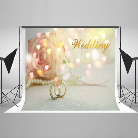 GreenDecor Polyester Fabric 7x5ft Wedding Photography Backdrop Flower and Wedding Rings Photo Background Backdrops for Photographers](Wedding Photo Backdrop)