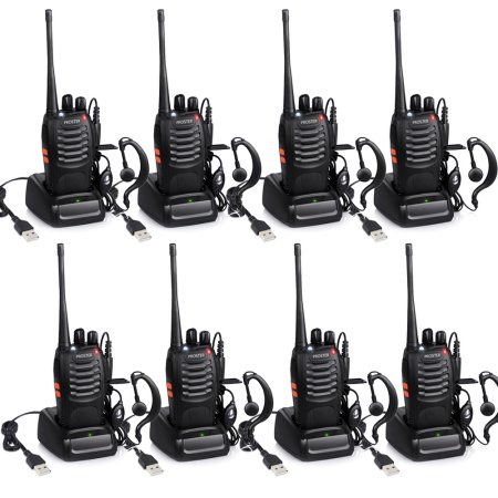 8Pcs Walkie Talkie 2-Way Radio Walkies Talkies With Interphone Earpiece Mic For Kids Outdoors Adults Girls Boys Reable Two Way Radio Walky Talky 5 km 16 Channel UHF 400-470MHZ