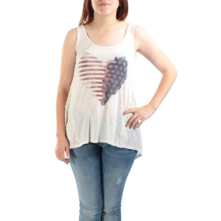 AMERICAN RAG Womens Ivory Embellished heart with american flag Sleeveless Scoop Neck Hi-Lo Top Juniors  Size: S
