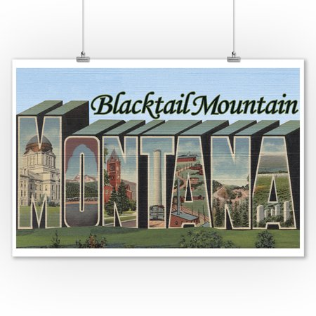 Blacktail Mountain, Montana - Large Letter Scenes (9x12 Art Print, Wall Decor Travel -