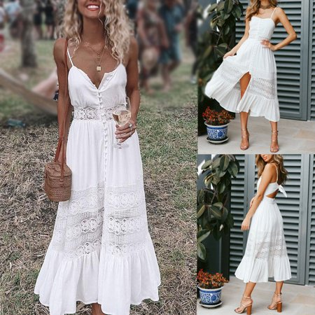 Women fashion lace patchwork dress boho holiday spaghetti strap Starpless bandage backless white sundress split sexy femme Dress