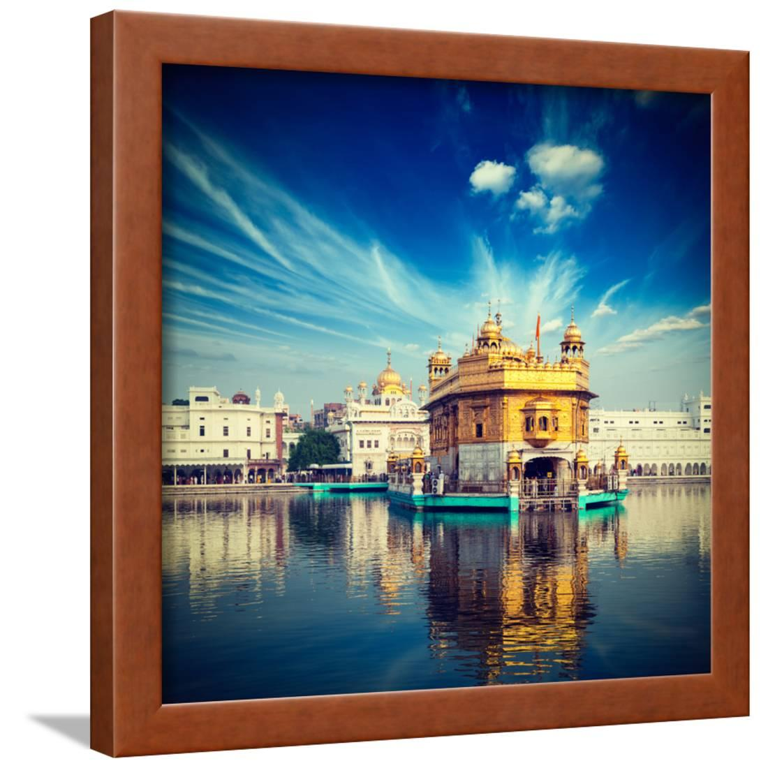 Vintage retro hipster style travel image of famous india attraction sikh gurdwara golden temple ha framed print wall art by f9photos