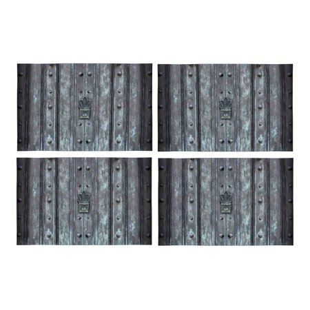 Mkhert Grunge Old Solid Iron Protected Door Ancient Structure Placemats Table Mats For Dining Room Kitchen Decoration 12x18 Inch Set Of 4