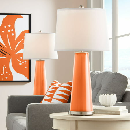 Color Plus Modern Table Lamps Set of 2 Invigorate Orange Glass Tapered Column White Drum Shade for Living Room Family Office