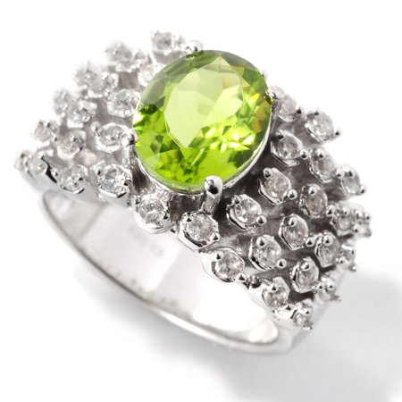 Sterling Silver with Natural Peridot and White Zircon Wide Band Ring