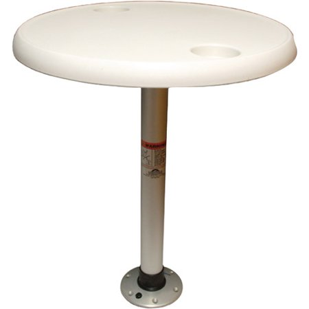 """Springfield Thread-Lock 24"""" Round Table Package without Umbrella Socket (Includes Pedestal Set and Table Top)"""