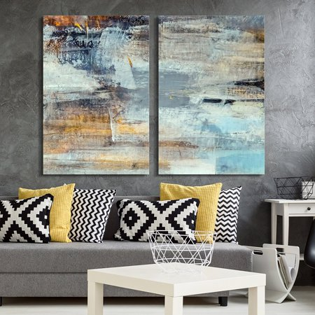 wall26 - 2 Panel Canvas Wall Art - Abstract Grunge Color Composition - Giclee Print Gallery Wrap Modern Home Decor Ready to Hang - 16