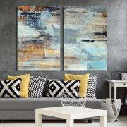 """wall26 - 2 Panel Canvas Wall Art - Abstract Grunge Color Composition - Giclee Print Gallery Wrap Modern Home Decor Ready to Hang - 16""""x24"""" x 2 Panels"""