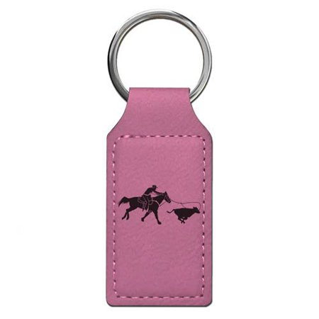 Keychain - Cowgirl Roping a Calf - Personalized Engraving Included (Pink Rectangle)