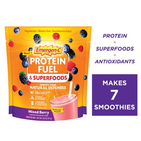 Emergen-C Protein Fuel & Superfoods, Mixed Berry, 15g Protein, 7.6 Oz (Walmart Exclusive)