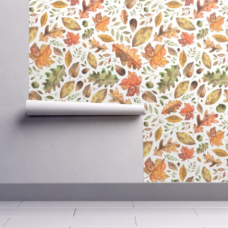 Removable Water-Activated Wallpaper Leaves Leaves Fall Autumn Halloween Floral](Happy Halloween Wallpaper Cute)
