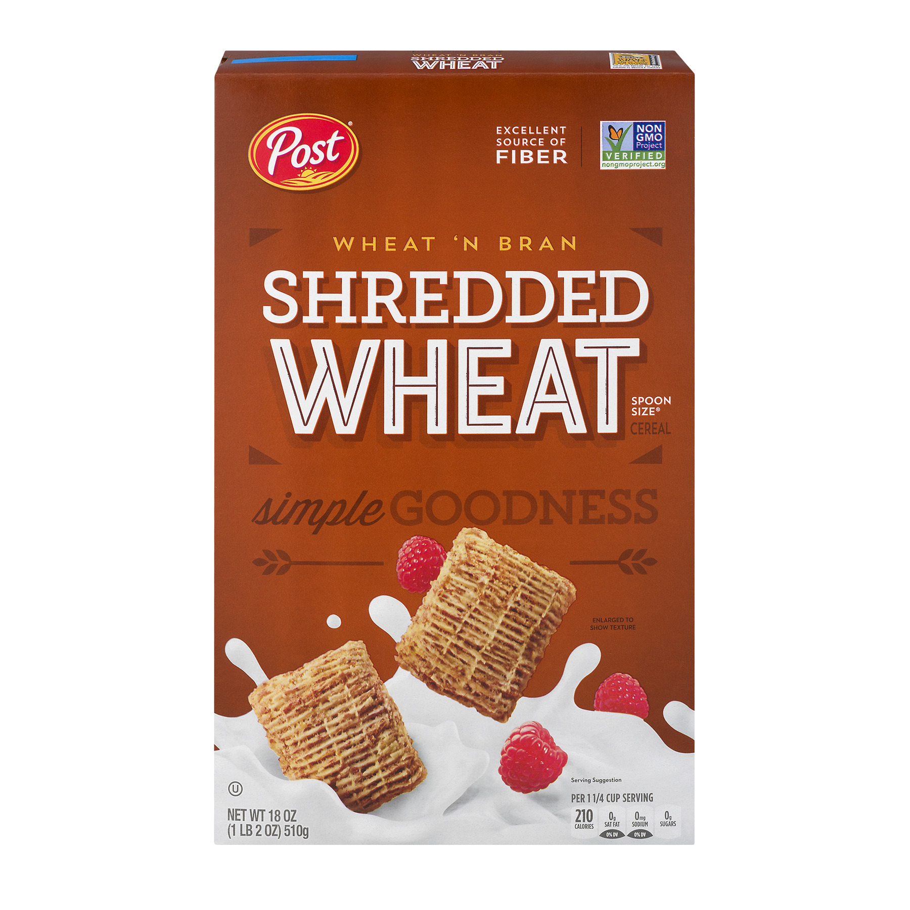 Post Shredded Wheat Spoon Size Wheat'n Bran Cereal 18 oz Box
