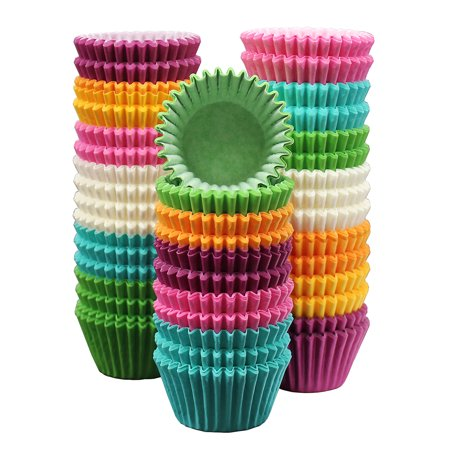 MontoPack 300-Pack Rainbow Paper Baking Cups - Mini 1.15in – No Smell, Safe Food Grade Inks and Paper – Grease Proof Cupcake Liners – Perfect Cups for Cake Balls, Muffins, Cupcakes, and Candies](Cupcake Paper Cups)
