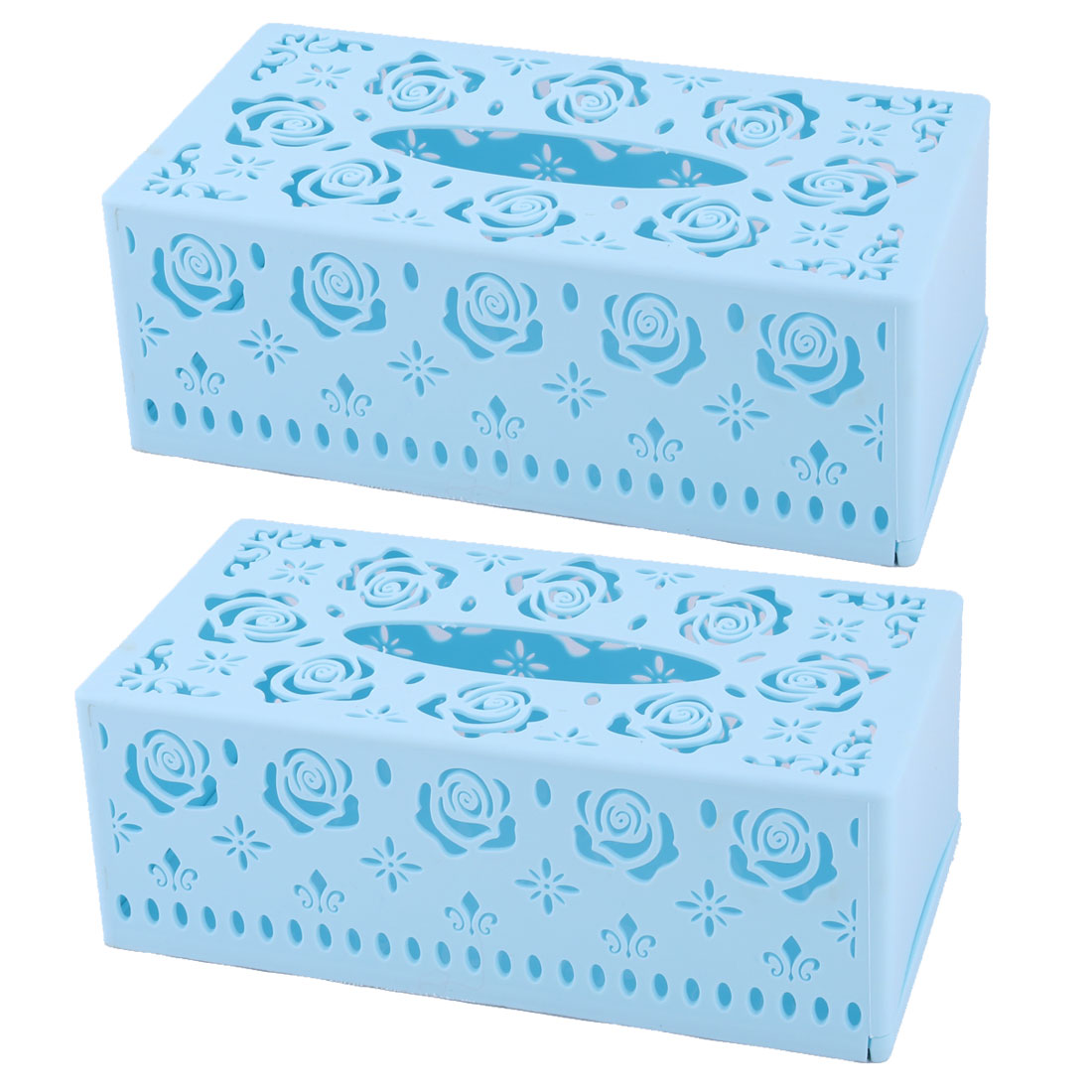 Uxcell Home Plastic Rectangle Hollow Out Design Tissue Box Case Holder Sky Blue 2pcs