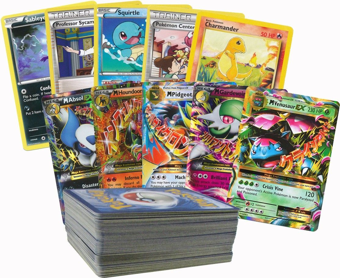 100 Random Pokemon Cards with 1 Mega Ex by POKEMONUSA
