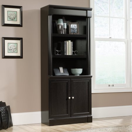 Sauder Palladia Library Bookcase with Doors - Wind Oak