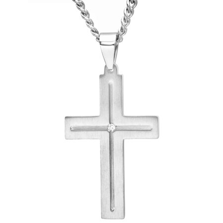 (Men's Diamond Accent Stainless Steel Cross with 24