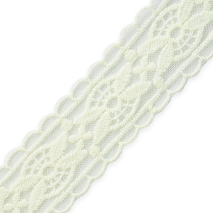 """Expo Int'l 5 yards of Luci 1 1/4"""" Leaf and Medallion Scalloped Lace Trim"""