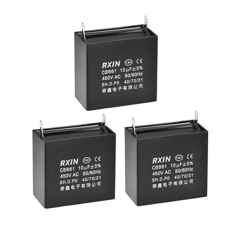 CBB61 Run Capacitor 450V AC 10uF Metallized Polypropylene Film Capacitors for Ceiling Fan 3Pcs