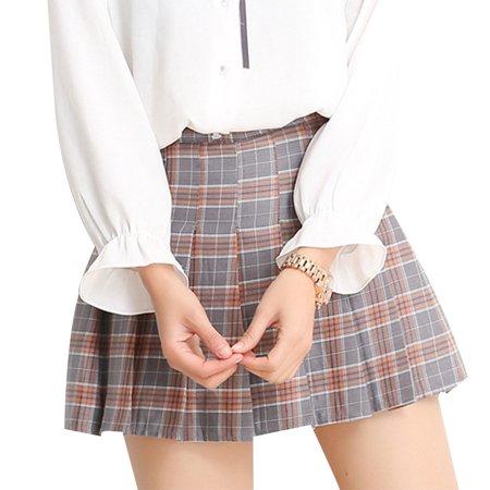 Clearance Women Grid Pleated Skirt High Waist Miniskirt A-Lineskirt Tennis Short Skirts for -