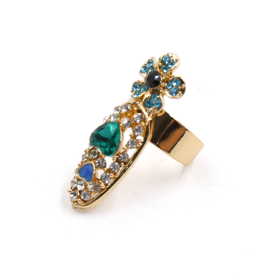 Gold Tone Flower Heart Rhinestones Decoration Women Nails Fingers Ring for Party - image 2 de 2