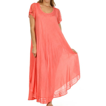 Sakkas Everyday Essentials Cap Sleeve Caftan Dress / Cover Up - Coral - One Size
