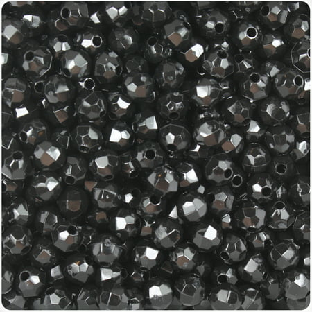 BeadTin Black Opaque 6mm Faceted Round Craft Beads (Jet 6mm Round Beads)
