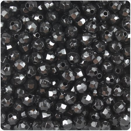 BeadTin Black Opaque 6mm Faceted Round Craft Beads -