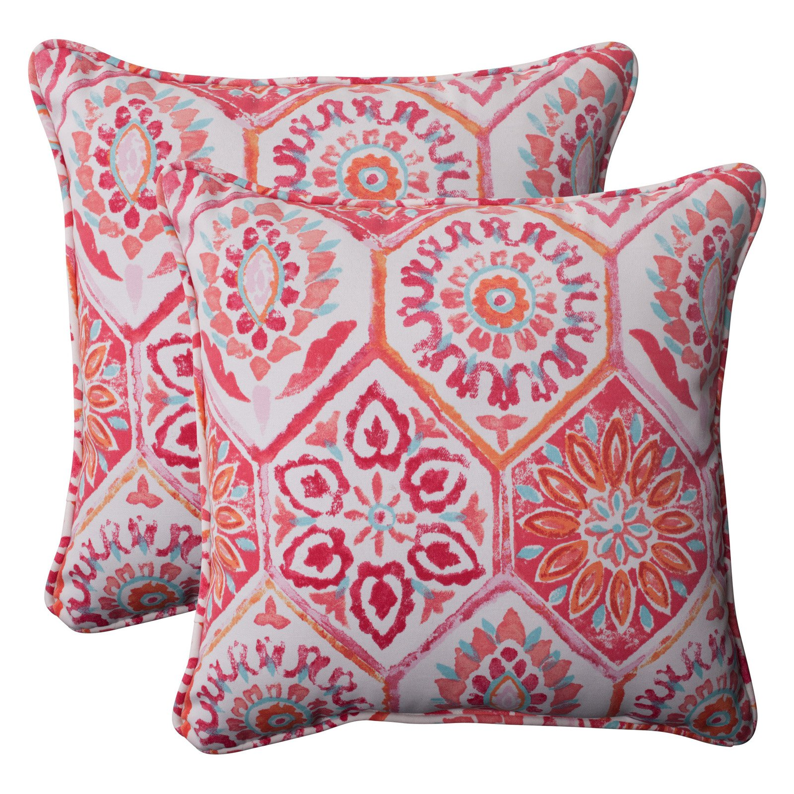 Pillow Perfect Outdoor/ Indoor Summer Breeze Flame 18.5-Inch Throw Pillow (Set of 2)