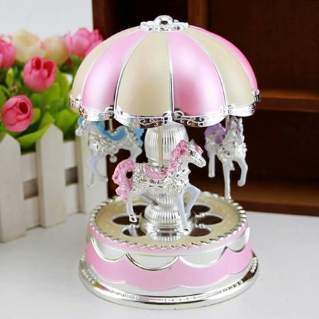 Romantic LED Light Merry-Go-Round Carousel Horse Music Box Toy Christmas Birthday -