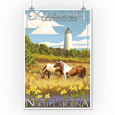Outer Banks, North Carolina - Ocracoke Lighthouse - Lantern Press Artwork (9x12 Art Print, Wall Decor Travel Poster)