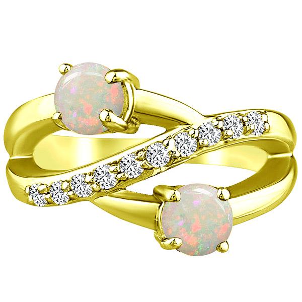 Round Band Ring Natural Opal & Diamond Twist Wedding 14 Yellow Gold 1.32 tcw