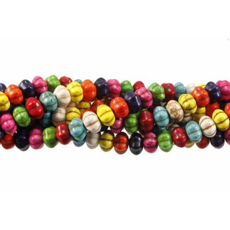 - 12x7mm Pumpkin Turquoise Dyed Mix, Loose Beads, 15 inch