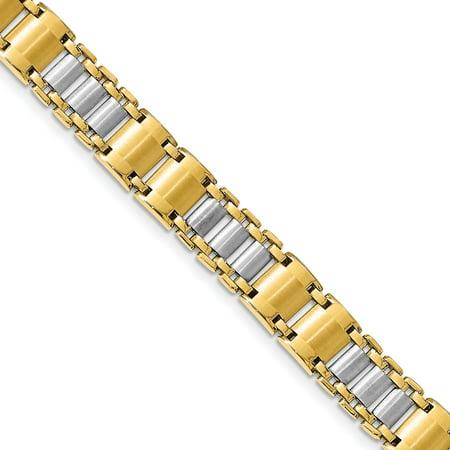 Leslie's 14K Two-tone Polished & Brushed Fancy Link Men's Bracelet - image 1 of 3