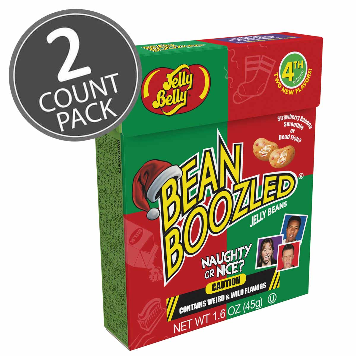 Jelly Belly BeanBoozled Naughty or Nice Jelly Beans 1.6 oz Flip Top Box 4th Ed. (2 Pack) by