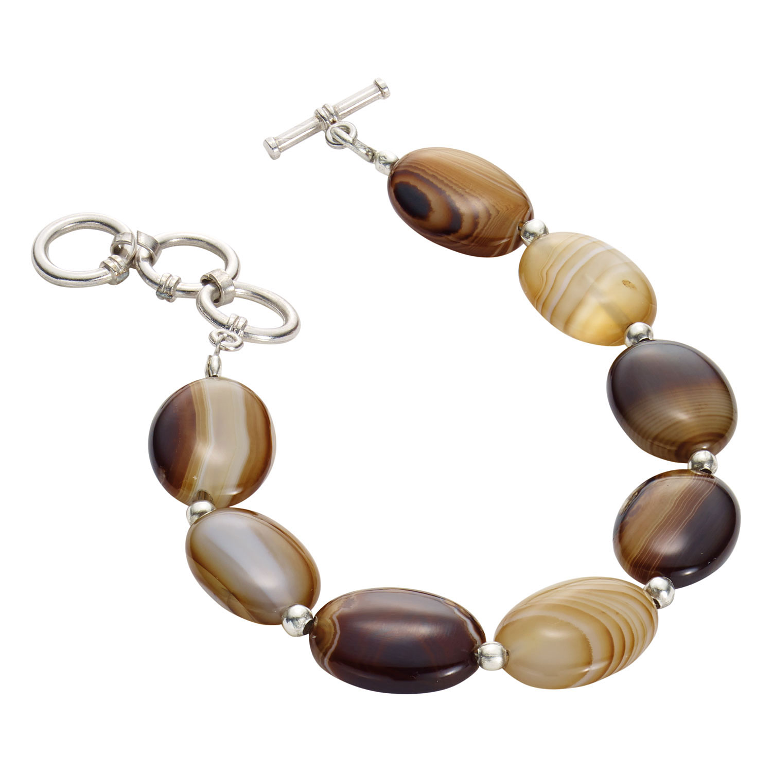 Women's Botswana Agate Bracelet 8 Polished Natural Brown Banded Stones by SHAJUKY EXPORTS